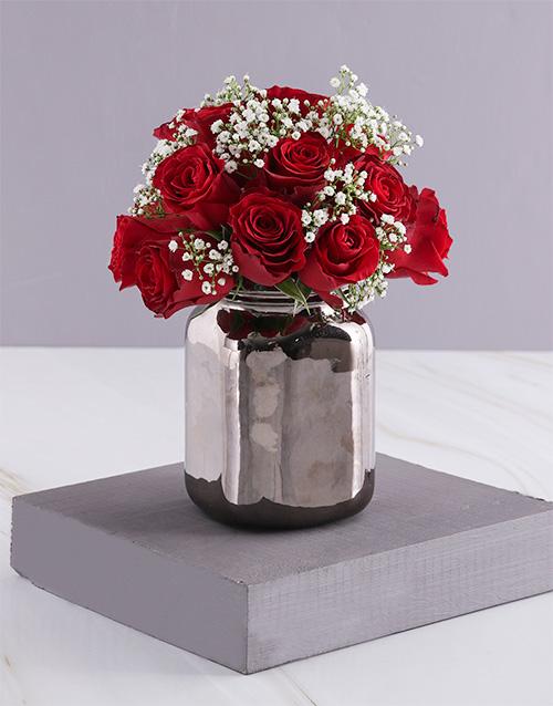 roses Tender Red Roses In Bronze Vase