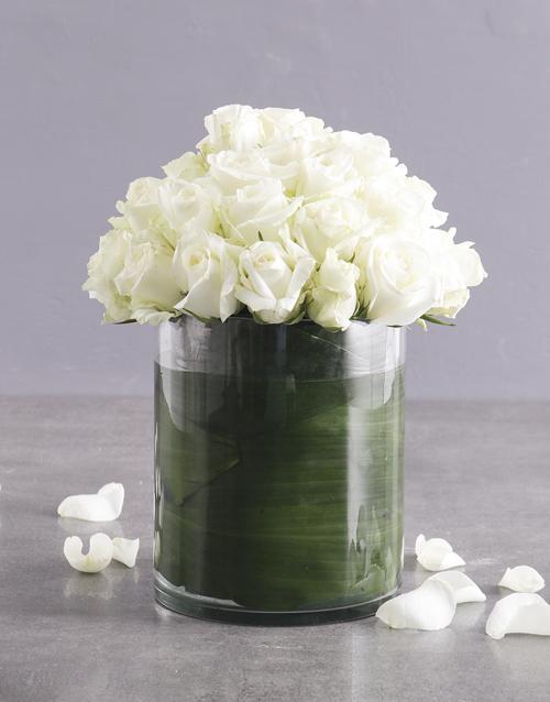 roses Pure White Rose Arrangement