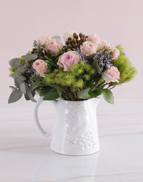 roses Jug of Pastel Blooms