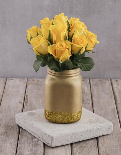 roses Yellow Roses in Gold Consol Jar