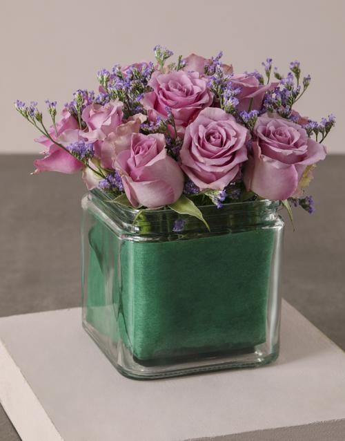 roses Lilac Roses In Petite Square Vase