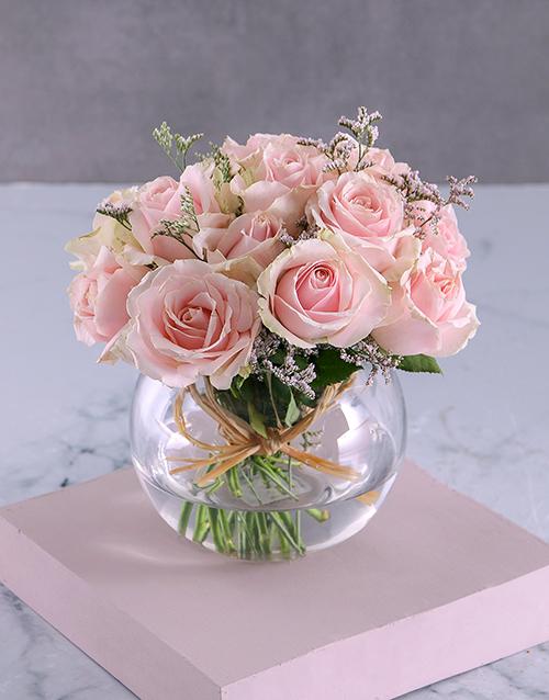 roses Pink Petals In Vase Gift