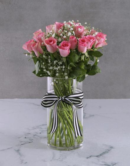 roses Pretty In Pink Rose Vase Arrangement