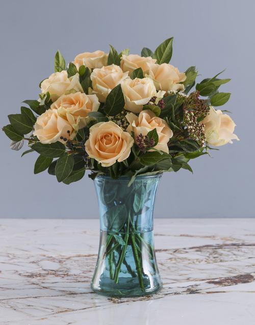 roses Peach Roses In Blue Cylinder Vase