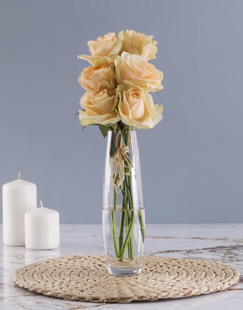 roses Peach Roses In Clear Bullet Vase