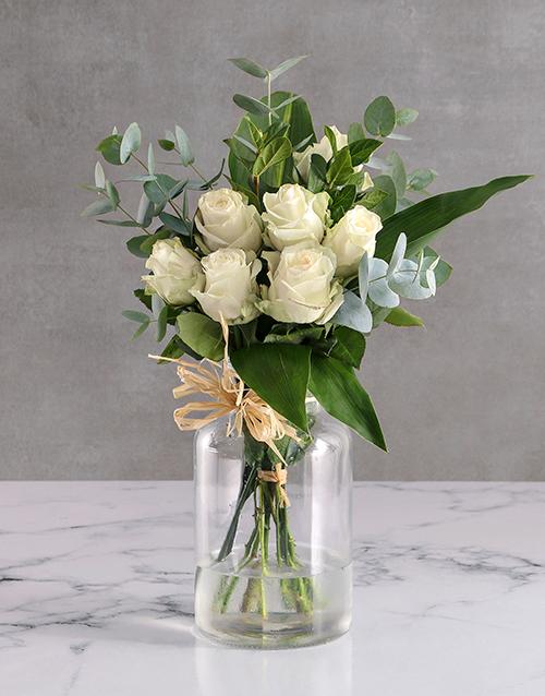 roses White Roses In Clear Vase