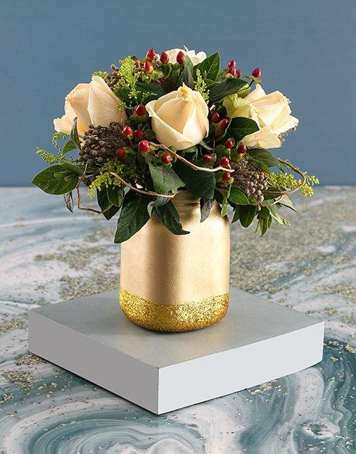 roses Cream Roses with Hypericum in Gold Jar