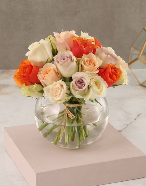 roses Mixed Pastel Rose Arrangement