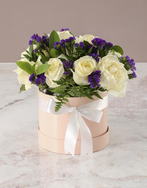 roses Wondrous White Roses In Hat Box