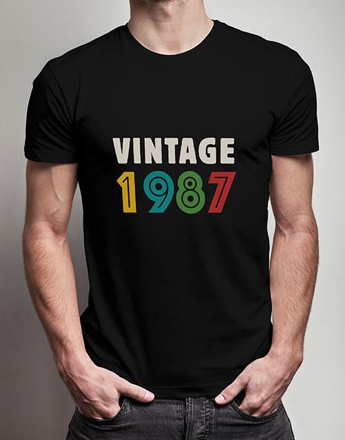 birthday Personalised Vintage Year T Shirt