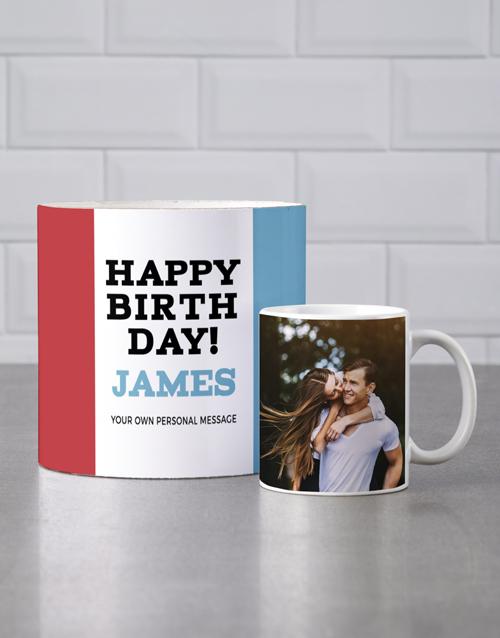 birthday Personalised Red And Blue Birthday Mug Tube