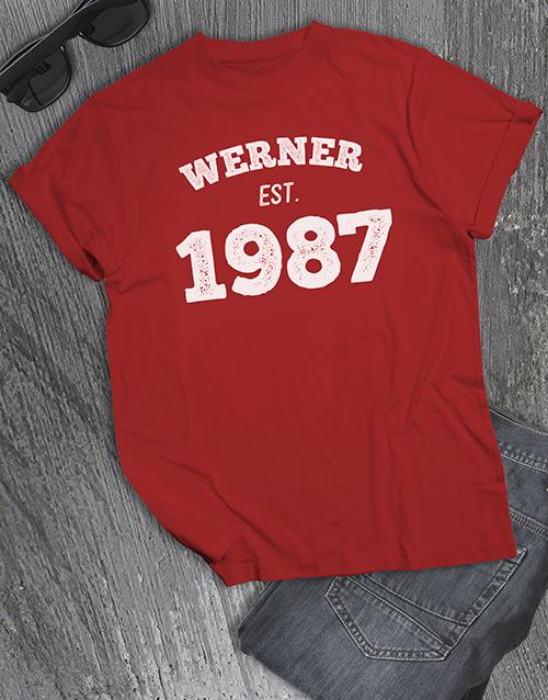 birthday Personalised Date Established T Shirt
