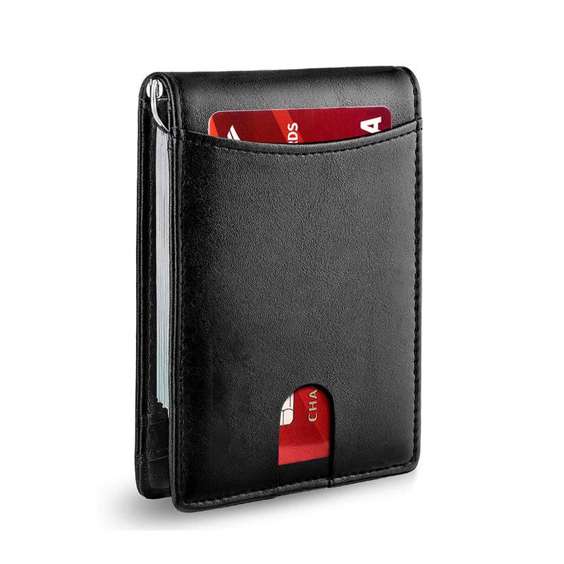 Slim Card Holder Wallet with ID Window & RFID (Black Leather)