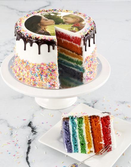 cakes Personalised Magical Rainbow Photo Cake