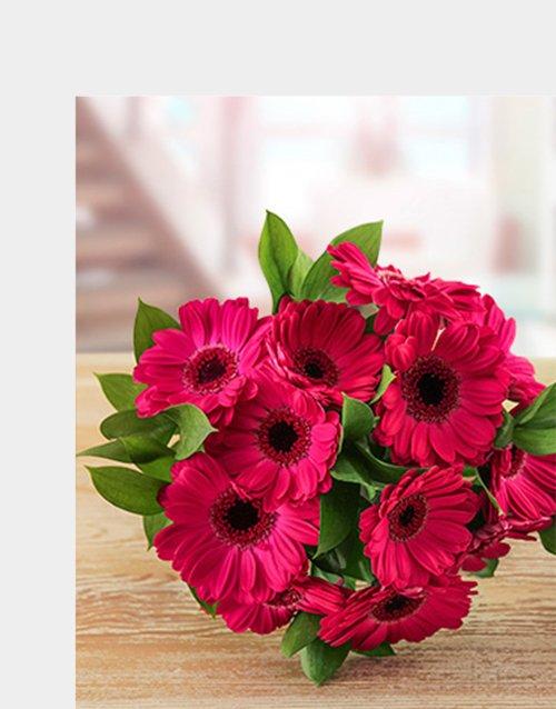 Cerise Pink Gerberas in a Bouquet