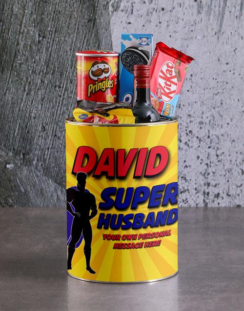 Personalised Superhero Husband Bro Bucket