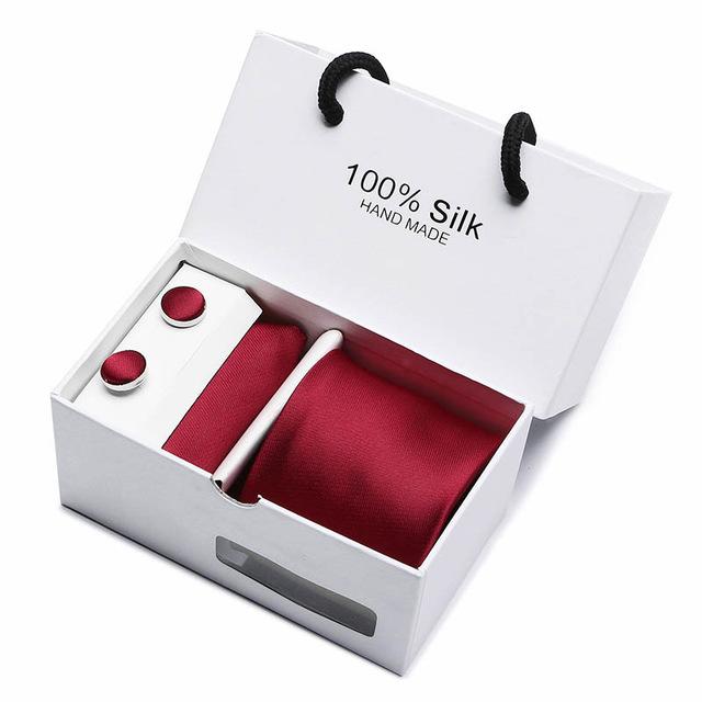 Silk Red 4 Piece Tie & Cufflink Set