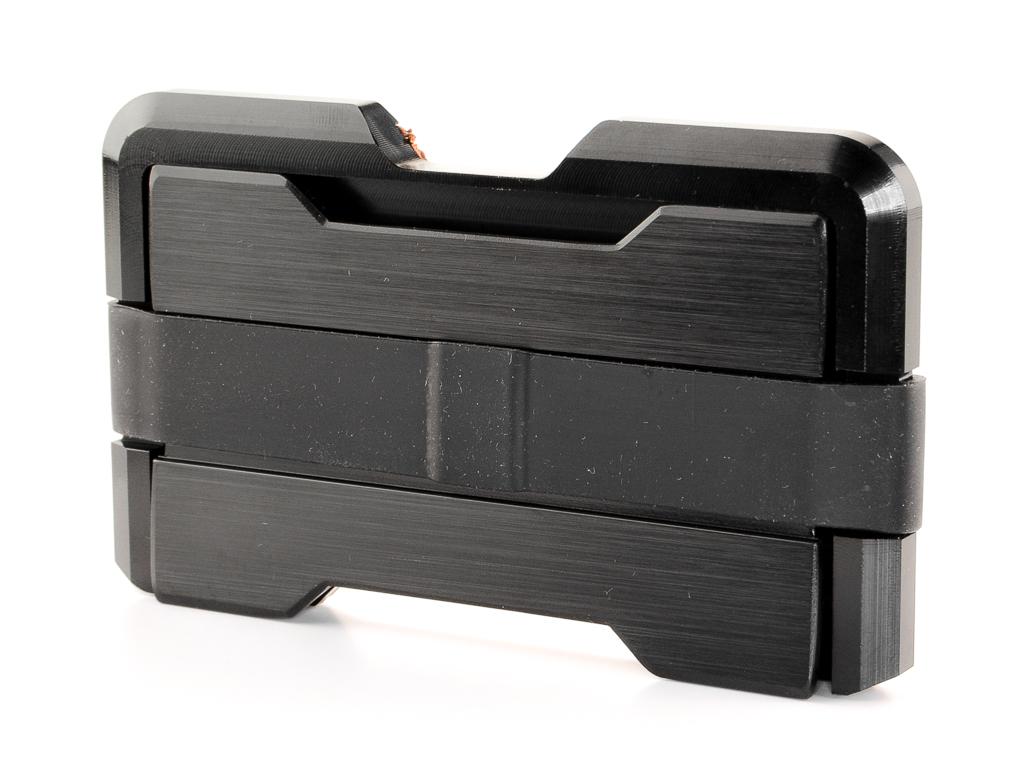 Aluminium Slim Card Wallet (Black/Brown)