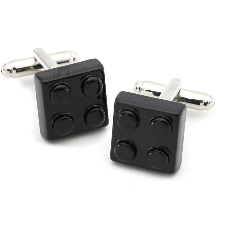 Black Lego Block Cufflinks Set