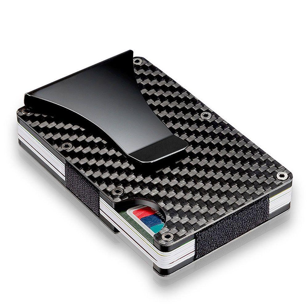 Slim Aluminium RFID Card Wallet with Moneyclip (Black, Carbon Fiber)